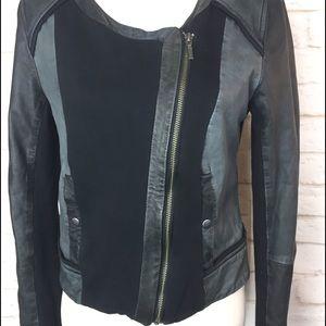 Anthropologie elevenses Mixed Leather Moto Jacket